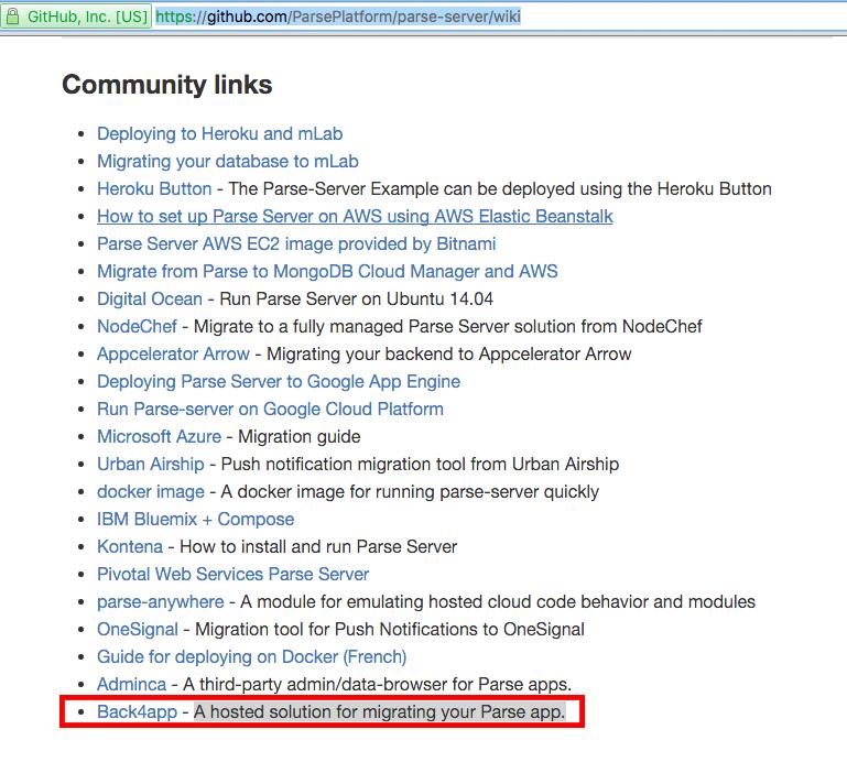 Parse Server wiki